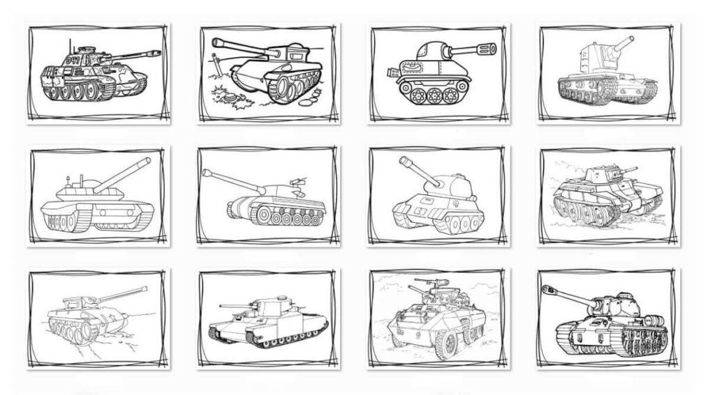 Скачать бесплатно и распечатать раскраски танки архивом